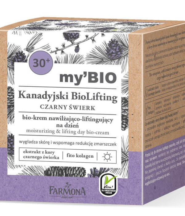 my'BIO Kanadyjski BioLifting 30+ CZARNY ŚWIERK bio - krem nawilżająco - liftingujący na dzień,