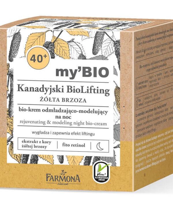 my'BIO Kanadyjski BioLifting 40+ ŻÓŁTA BRZOZA bio - krem odmładzająco - modelujący na noc