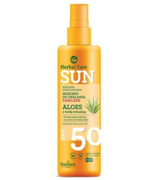 Herbal Care Sun SPF 50 Roślinne wodoodporne mleczko do opalania familijne ALOES z wodą termalną
