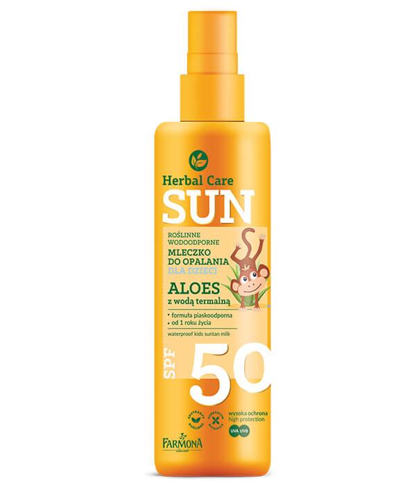 Herbal Care Sun SPF 50 Roślinne wodoodporne mleczko do opalania dla dzieci ALOES z wodą termalną