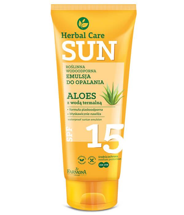 Herbal Care Sun SPF 15 Roślinna wodoodporna emulsja do opalania ALOES z wodą termalną