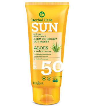 Herbal Care Sun SPF 50 Roślinny nawilżający krem ochronny do twarzy ALOES z wodą termalną