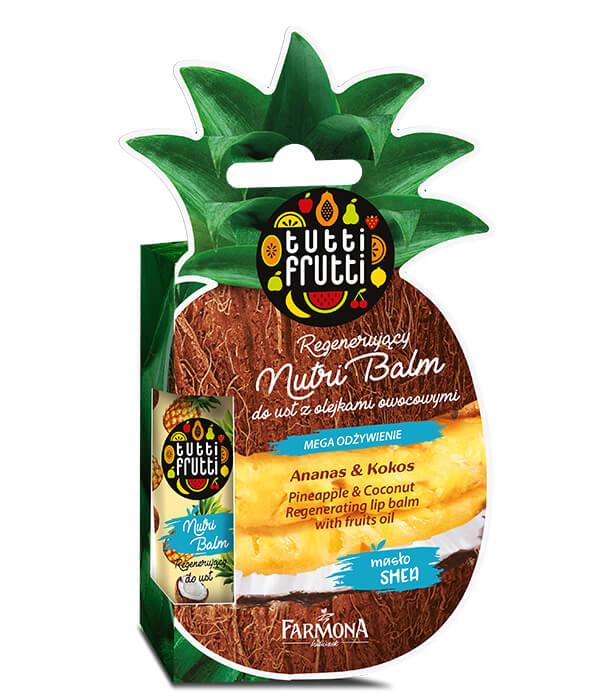 TUTTI FRUTTI ANANAS & KOKOS Regenerujący Nutri Balm do ust z olejkami owocowymi