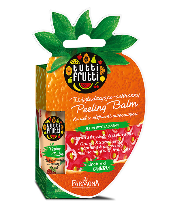 TUTTI FRUTTI POMARAŃCZA & TRUSKAWKA Wygładzająco ochronny Peeling Balm do ust z olejkami owocowymi
