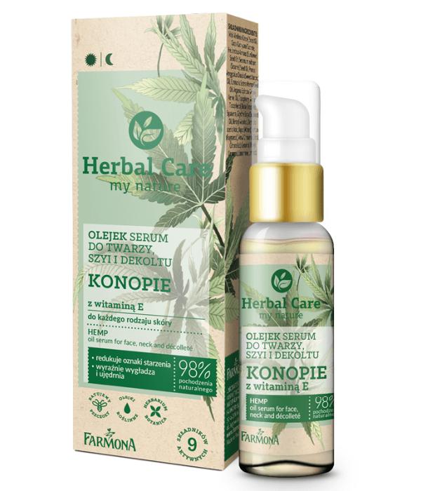 Herbal Care Olejek-serum do twarzy, szyi i dekoltu Konopie z witaminą E do każdego rodzaju skóry, 50ml