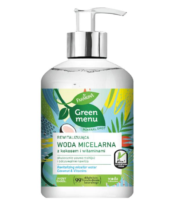 GREEN MENU Rewitalizująca woda micelarna z kokosem i witaminami 270ml